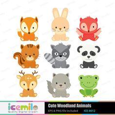 Cute woodland animals digital clipart by icemiloclipart on etsy · woodland nursery clipart baby animals clip art forest Woodland Critters, Woodland Creatures, Woodland Animals, Woodland Nursery, Clipart Baby, Cute Doodles Drawings, Baby Clip Art, Forest Animals, Cute Baby Animals