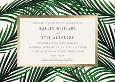 """Tropical Love"" - Destination, Modern Foil-pressed Wedding Invitations in Gold by Elly."