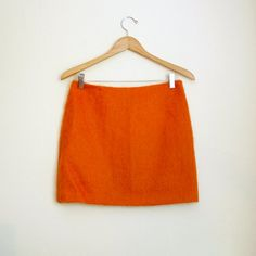 orange mohair wool mini skirt by TheMysteryDrawer on Etsy