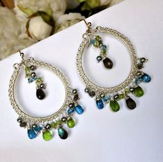Luxury Gemstone Hoop Earring Colorful by DoolittleJewelry on Etsy