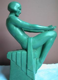 Original Max Le Verrier Art Deco Lady Lamp Lampe Light for Restoration   eBay