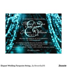 Elegant Wedding Turquoise String Lights 5x7 Paper Invitation Card