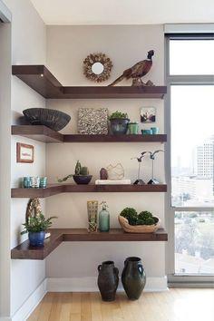 Ladder Shelf Decor, Floating Shelf Decor, Wooden Floating Shelves, Wall Shelf Decor, White Floating Corner Shelves, Ladder Shelves, House Shelves, Wooden Wall Shelves, Open Shelves