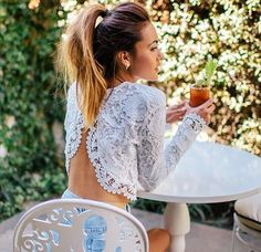 Backless Lace Crop Top