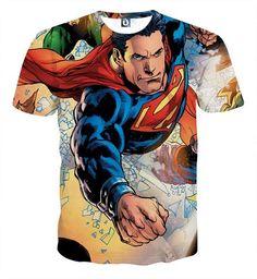 Justice League Powerful Superman Comic Art Print T-Shirt    #JusticeLeague #Powerful #Superman #Comic #Art #Print #T-Shirt