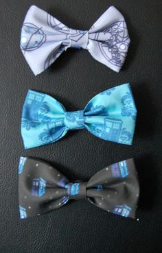 Back by popular demand! PREORDER Set of 3 Doctor Who Hair Bows by MichelleLynneArt on Etsy, $20.00