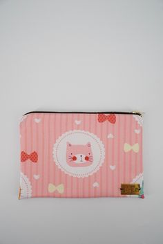 Kedai Koolcats - Mixed Material Pouch with Pink Cat