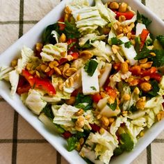 LOVE this healthy salad with Napa Cabbage, Red Bell Pepper, Cilantro, Peanuts, and Dijon-Ginger Dressing. Perfect for a side dish or #MeatlessMonday main dish! [from KalynsKitchen.com]