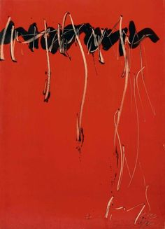 Jean Degottex - Ecriture Noire, Série Rouge/Writing Black, Red Series, 1963 gouache and ink on paper