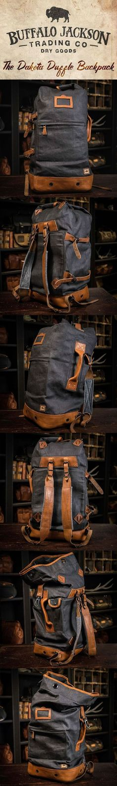 Crafted of waxed canvas and distressed full grain leather, this men's vintage military duffle backpack was built to honor the memory of good men and good days. Fill it with your sports gear or go hiking across Europe. This bag can handle it. Great gift for him. padded leather shoulder straps | interior laptop sleeve | finest leathers and canvases