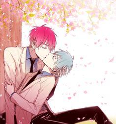 Akashi Seijūrō x Kuroko Tetsuya - Akakuro 赤司征十郎 x 黒子 テツヤ【赤黒】 벚꽃 넣느라 60분 초과해버렸습니다_/乙(、ン、)_ 벚꽃엔 역시 테이코 교복이 어울리는것같다 적흑행쇼해 ㅠ #적흑으로전력60분