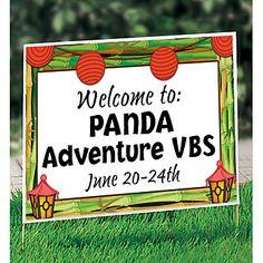 Panda Adventure Lanterns Personalized Yard Sign