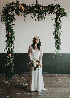 Hanging floral wedding altar