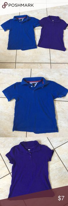 2 boys collared shirts Both worn but ok condition. Blue is Tommy Hilfiger. Purple is Old Navy. Perfect for summer Tommy Hilfiger Shirts & Tops Polos