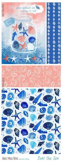 EVERYDAY designs — Ohn Mar Win Illustration Sea shells pattern