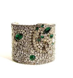 Cuff Bracelet Vintage Emerald Rhinestones. Made from broken jewelry and repurposed into this bracelet
