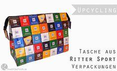 Ritter Sport Tasche Anleitung nähen DIY selber machen Kulturtasche Bad Recyceln Recycling Schokolade Süßigkeiten Verpackung wiederverwenden Upcycling