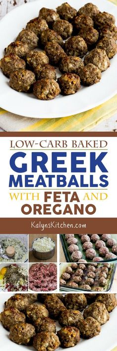Low-Carb Baked Greek Meatballs with Feta and Oregano are amazing and easy to make! If you like Greek flavors, this just might become your favorite meatball recipe! [found on KalynsKitchen.com] #Meatballs #LowCarbMeatballs #GreekMeatballs #LowCarbGreekMeatballs