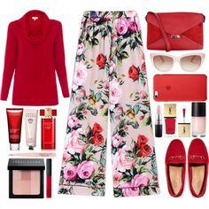 red and pink pants by juliehalloran on Polyvore featuring Kinross, Dolce&Gabbana, Gucci, CÉLINE, Kate Spade, Bobbi Brown Cosmetics, NARS Cosmetics, MAC Cosmetics, Anastasia Beverly Hills and Estée Lauder