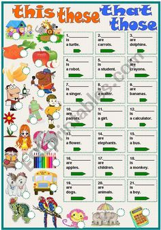 this-these-that-those worksheet English Grammar For Kids, Learning English For Kids, Primary English, English Worksheets For Kids, English Verbs, English Reading, English Activities, English Language Learning, English Class