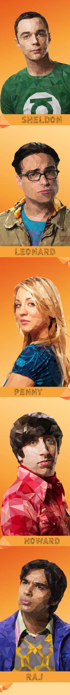 pinterest.com/fra411 #illustration - Big Bang Theory - Low Poly Illustrations by Mordi Levi, via Behance