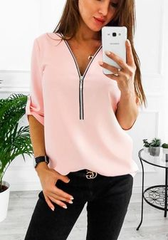 Women Long Sleeve Loose Casual Shirt Summer Chiffon Tops TShirt Zipper Solid Simple Daily Ladies Clothes SXl Color black Size S Womens Fashion Casual Summer, Women's Summer Fashion, Fashion Women, Style Fashion, Teen Fashion, Dressy Tops, Chemises Sexy, Blouses For Women, T Shirts For Women