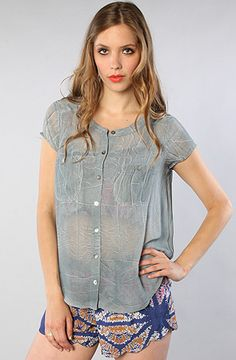 The Spellbound Button Up in Blue Dust by Free People