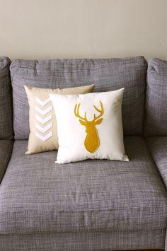 Mustard & Linen Decorative Deer Pillow  - 14X14 - yellow and beige