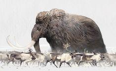 Mammoth et Rennes par Tom Björklund Mammoth and Reindeer by Tom Björklund - Monde Des Animaux Prehistoric Wildlife, Prehistoric Dinosaurs, Prehistoric World, Prehistoric Creatures, Dinosaur Art, Dinosaur Crafts, Extinct Animals, Jurassic Park, Creature Design
