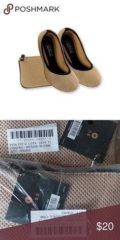 Women's SideKicks shoes New. Mesh foldable ballerina flats. Stretchy easy slip-on flats. Foldable shoes come with carrying pouch. Breathable, natural firm fit. Form-fitting construction and ergonomic comfort. Fold and go for easy transport Shoes