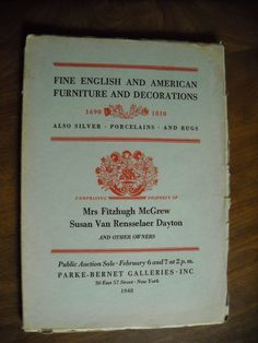 Parke Bernet Galleries Auction Catalog English & American Furniture (1948) Sale number 929 ~~ For Sale at Wenzel Thrifty Nickel eCRATER store