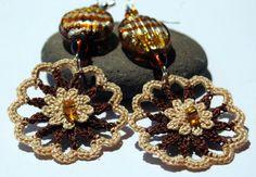 Crochet earring jewelry - Large crochet earring - Crochet earring - Crochet flower - Brown and beige earrings