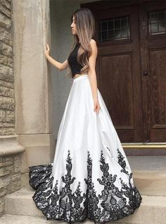 Lace White Prom Dress Long Prom Dress Evening Dresses Two Piece Prom Dress Lace Black Lace Evening Dresses Prom Dresses 2019 Cheap Prom Dresses Uk, Open Back Prom Dresses, Prom Dresses For Teens, Black Prom Dresses, A Line Prom Dresses, Formal Dresses For Women, Dress Prom, Prom Gowns, Long Dresses