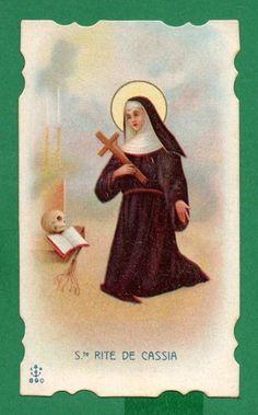 St Rita of Cascia w Crucifix Skull Old Holy Card