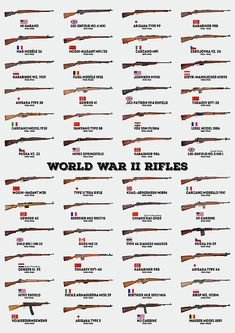 world war ii rifles, ww2, wwii, world war 2, rifles, guns, weapons, infantry, military, army, us army, german, soviet, china, japan, japanese, french, italian, history, historical, chart, man cave, home, office, decor, living room, dorm, game room, decorations, husband, father, boyfriend, gifts, marines, navy, m1 garand, m1917 enfield, m1941 johnson rifle, m1 carbine, no. 4 mk i lee–enfield, carcano, mas-36, berthier, arisaka type 99, mosin–nagant m91/30, tokarev svt-40, krag-jorgensen Military Weapons, Military Army, Military Aircraft, Ww2 Weapons, Concept Weapons, Army Vehicles, Guns And Ammo, Rifles, Military History