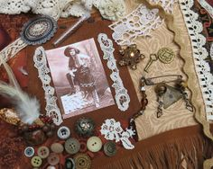 Cowgirl Annie ...Vintage Mixed Media Kit 40 brown by GypsyFeather