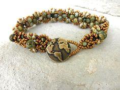 Gemstone Bracelet, Rhyolite Beaded Bracelet,Seed Bead Bracelet,Green Beaded Bracelet,Gemstone Jewelry,Earth Jewelry,Rhyolite Jewelry