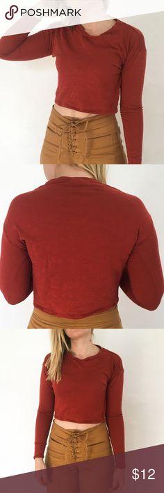 top shop long sleeve crop top top shop long sleeve crop top rusty red color xs Topshop Tops Crop Tops