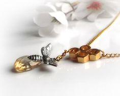 Citrine necklace gemstone lariat necklace November by UraniaArt, $28.00