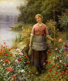 Schilderij van Daniel Ridgway Knight. Painting of Daniel Ridgway Knight. Martha, A Days Sport