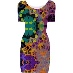 CHEERFUL FLORAL ORNAMENTIC, Bodycon Dress 3 from Print All Over Me #designerdress #dresses #women  #art #ornamentic #collage #pattern #geometric #colourful #cheerful #orange #purple #green #piaschneider #ateliercolourvision #fashion #fashionable #trendcolours #paom