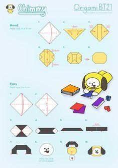 Paper Crafts Origami, Diy Origami, Diy Paper, Cartoon Wallpaper, Bts Wallpaper, Kpop Diy, Bts Book, How To Make Origami, Ideias Diy