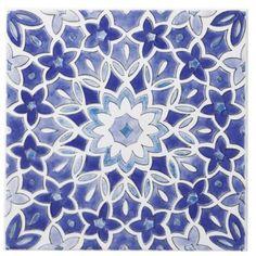 Colours Single Blue Fleur Décor Wall Tile (L)200 x (W)200mm, 5397007011005