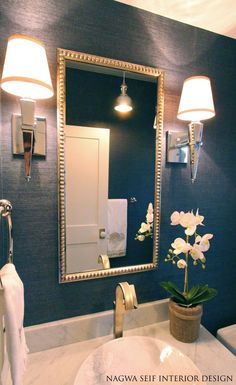 Navy Grasscloth Wallpaper and Polished Nickel Lighting