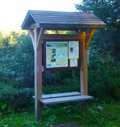 Classic Trailhead Kiosk: A Timber Frame Sign Board Info Kiosk, Information Kiosk, Trail Signs, Farm Signs, Mailbox Stand, Eagle Project, Kiosk Design, Entrance Sign, Built In Bench