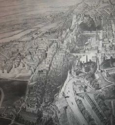 The Auld Toun o Edinburgh lies like a great ancient reptile rearin its heid tae Scotland, the wynds, closes an tenements dreepin aff its craggy scaley back doon intae the gulleys, ready tae pounce, but tamed an chained by the new brigs across its back...