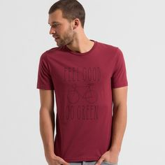 available in red - T-Shirt Print, Baumwolle (bio), Regular fit, Fairtrade, GOTS - sustainable materials and fair production Go Green, Printed Shirts, Sari, Mens Tops, T Shirt, Fashion, Cotton, Saree, Supreme T Shirt