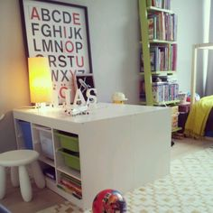 #Ikea Trofast Toy storage x 2 = work space for the kid and organized room.