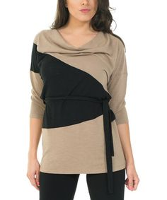 Look at this #zulilyfind! Taupe & Black Color Block Cowl Neck Tunic - Women by Madison & Me #zulilyfinds