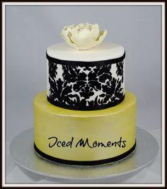 Wedding/ engagement stenciled peony cake